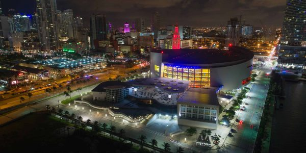 Aerial drone shot of the AA Arena at night home to the Miami Heat Basketball Team
