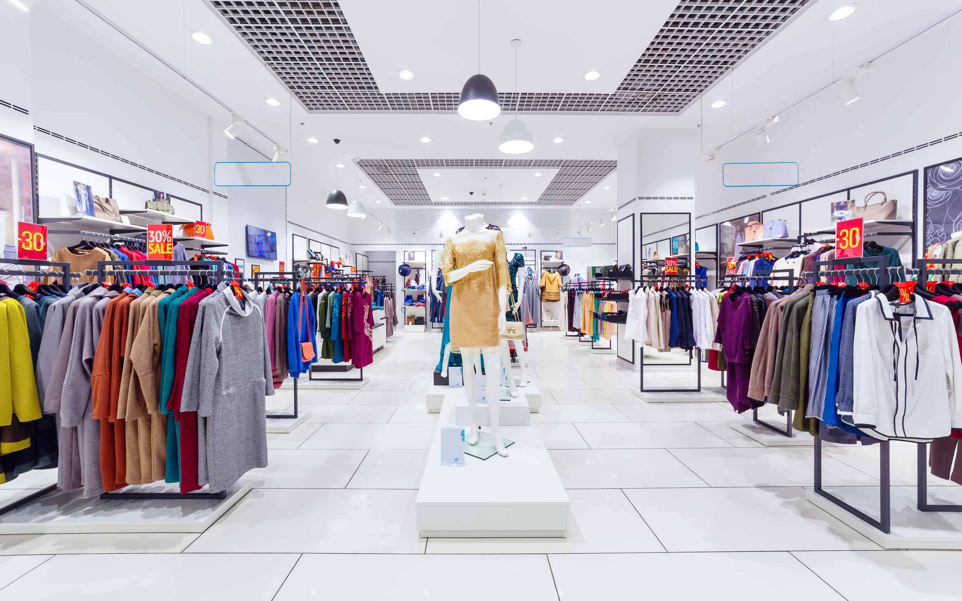 Interior of fashion clothing store for women